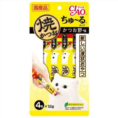 Cemilan Kucing CIAO Grilled Tuna Liquid Snack Dried Bonito Flavor 56 gram
