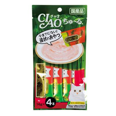Cemilan Kucing CIAO Liquid Snack White Meat & Scallop 56 gram