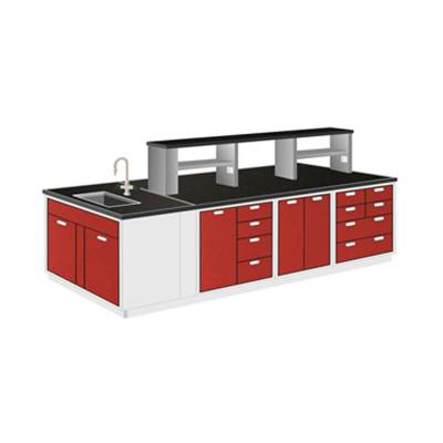 Meja Lab R.Tengah dengan Sink dan Rack / Steel Island Bench with Sink and Rack Granite 400x150x85