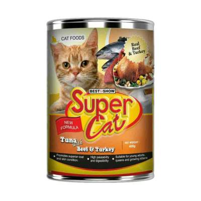 Makanan Kucing Super Cat Beef & Turkey 400gr