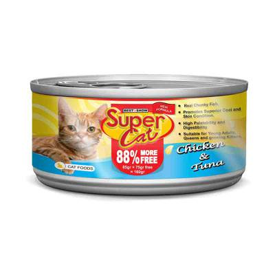 Makanan Kucing Super Cat Chicken & Tuna 160 gr