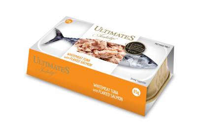 Makanan Kucing Basah Ultimates Whitemeat Tuna with Flaked Salmon 85 gram