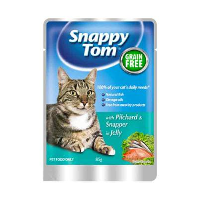 Makanan Kucing Snappy Tom Pilchard & Snapper in Jelly 85 gram