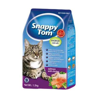 Makanan Kucing Snappy Tom Salmon with Chicken Dry Food 1,5 Kg