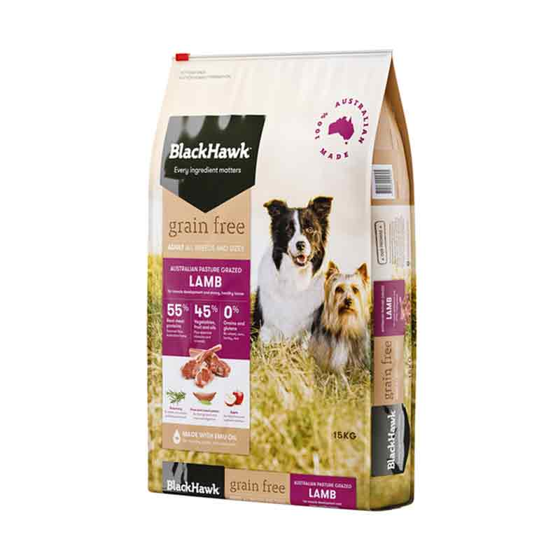 Makanan Anjing Black Hawk Adult Grain Free Lamb 7 kg